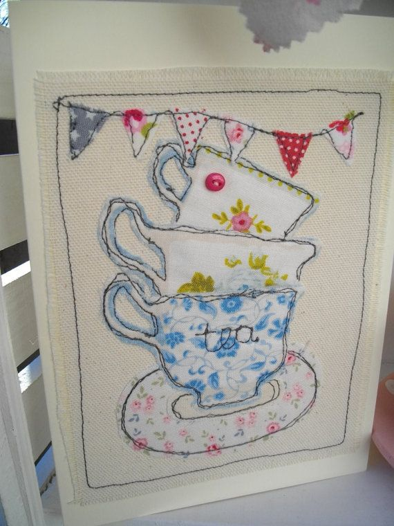 Birthday teacup card handmade machine embroidered