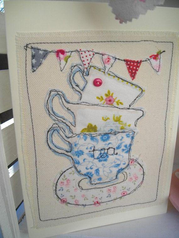 Birthday Teacup Card, Handmade Card, Machine Embroidered Textile Card
