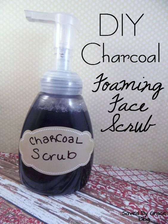 DIY Foaming Charcoal Face Scrub- Make your own charcoal scrub to fight blackheads. Charcoal helps clear out pores. Try this DIY Natural cleaner.