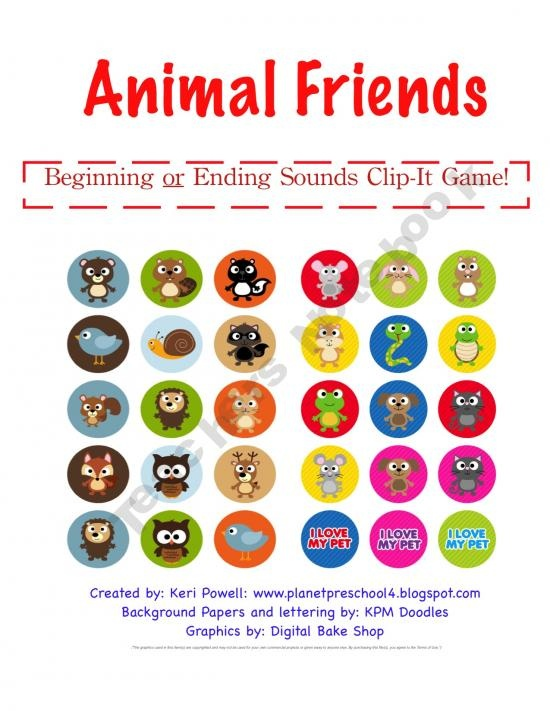 Animal Friends Beginning and Ending Sound Game!