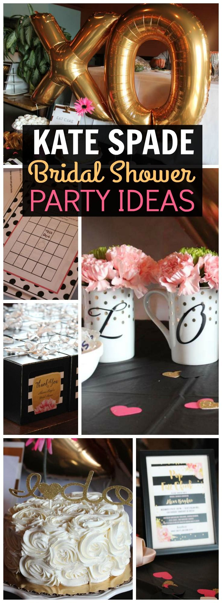 How gorgeous is this Kate Spade themed bridal shower?! See more party ideas at CatchMyParty.com!