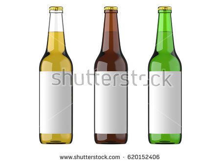 Transparent glass bottle, brown and green bottle with white label for beer and beverage or carbonated drinks. Studio 3D render, isolated on white background.