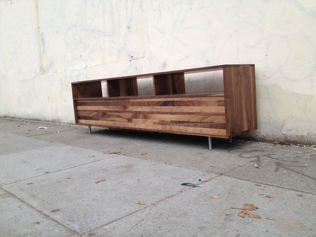 Long Low Mixed-Walnut Media Console, 48 W X 16 D X 24 H midcentury-media-storage