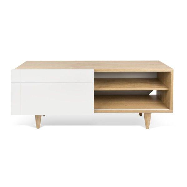 Televizní stolek Cruz Pure White/Oak | Bonami