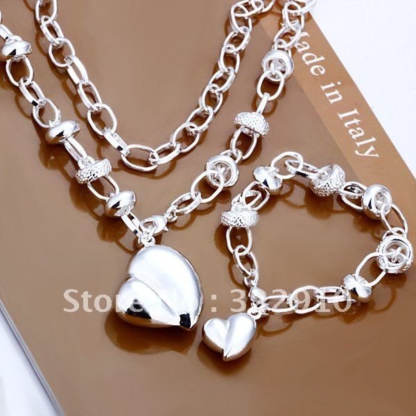 S014 Wholesale fashion jewelry set sterling silver Lovely heart pendant necklace set silver jewelry fashion jewelry