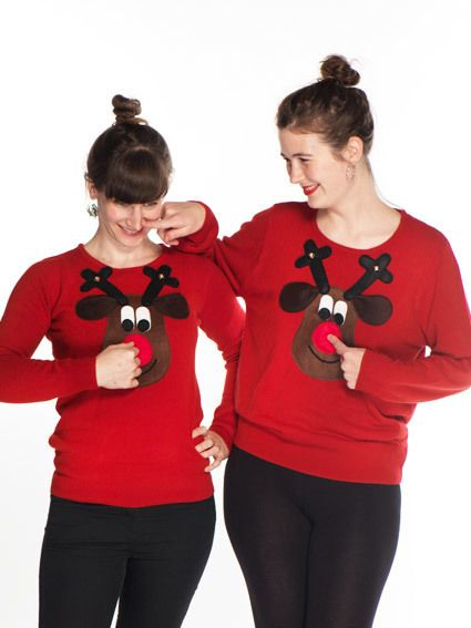 Novelty Christmas Jumper Brown Rudolph Squeaky Nose - Ladies' 8-22 £41.00