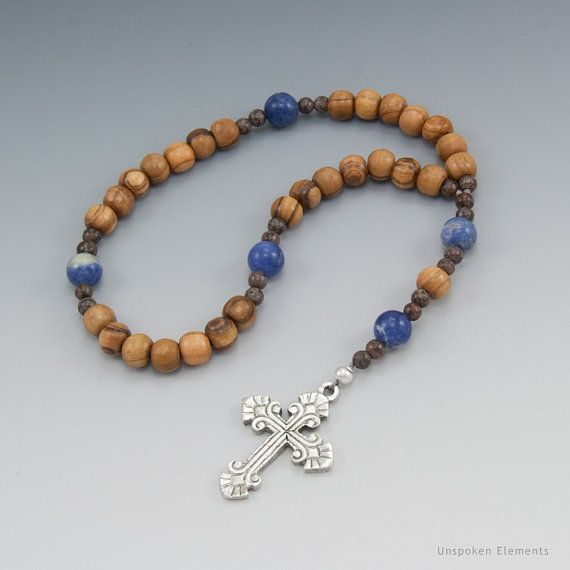 pics of christian  prayer beads   Christian Prayer Beads - Olive Wood with Sodalite - Brown & Blue ...