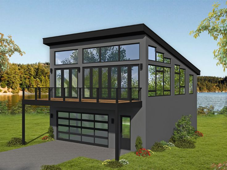 062h 0184 Modern Carriage House Plan With Drive Thru Bay Carriage House Plans Garage Apartment Plan Garage Guest House