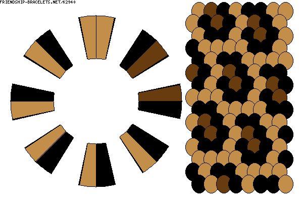 16 strand animal print kumihimo warping diagram.