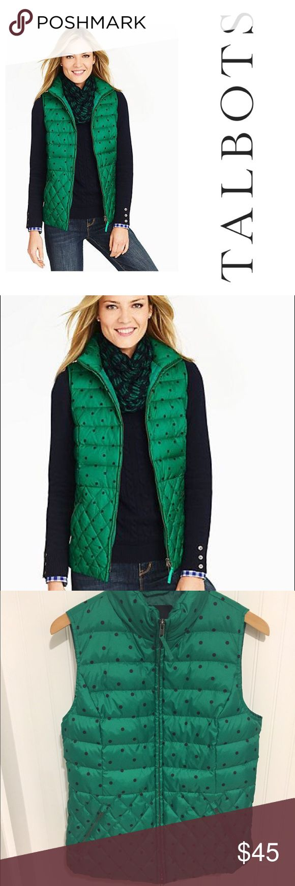 Talbots green navy polka dot zip up Vest M Size medium. Worn once. In excellent condition. Talbots Tops