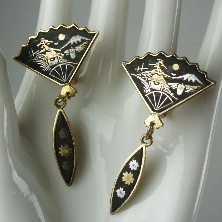 Japanese Damascene Vintage Fan Earrings