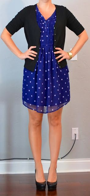 outfit post: navy polka-dot dress, black cardigan | Outfit Posts Dynamic