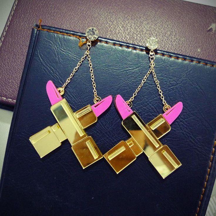Mulheres personalidade acrílico ouro rosa batom brincos do partido do punk hip hop night club jóias acessórios   – Products