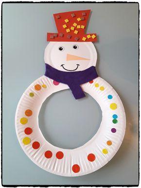 Snowman in cardboard plate