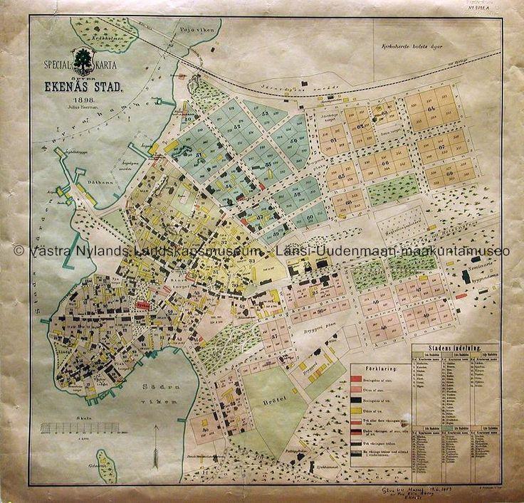 Ekenäs 1898; Tammisaari 1898  #västranylandslandskapsmuseum #EKTAMuseumcenter #Karta #Ekenäs #Tammisaari #Raseborg #Raasepori