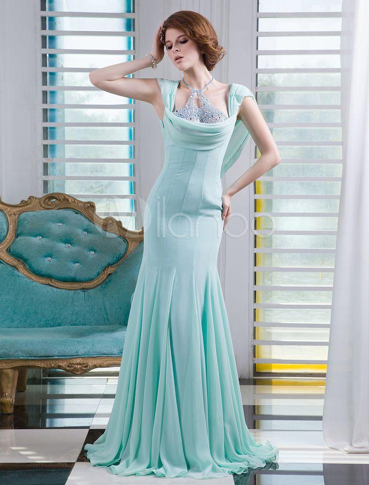 vert menthe perles robe de soire en mousseline de soie halter manches courtes sirne milanoo - Milanoo Robe De Soiree Pour Mariage
