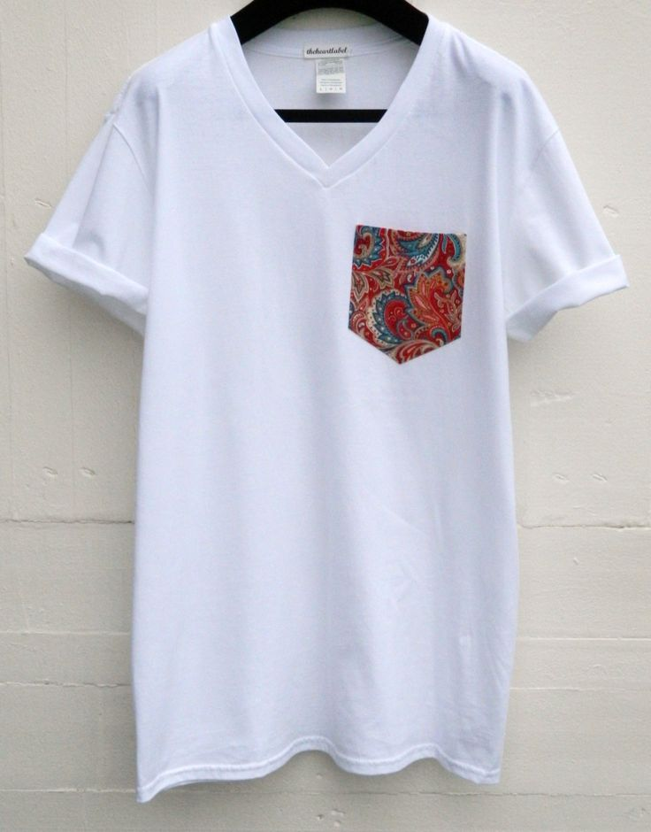 Men's V-Neck Floral Pattern White Pocket T-Shirt, Men's T- Shirt, Pocket tee, Unisex, Menswear, UK by HeartLabelTees on Etsy
