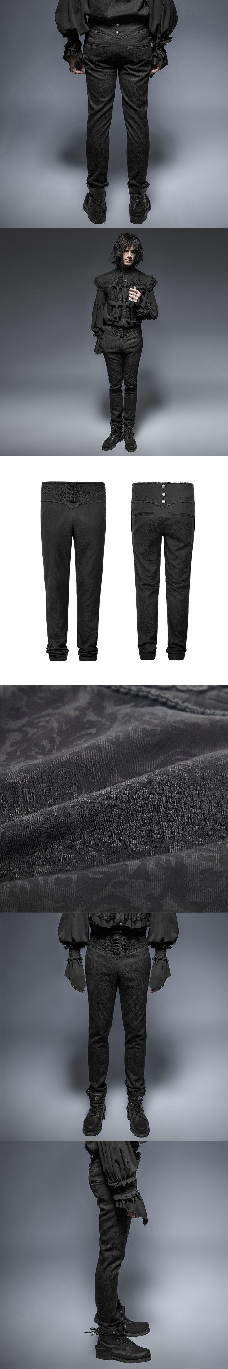 Punk Gothic Peacock Button Men Pants Black Casual High Waist Slim-Fitting Trousers 2017 Steampunk Fashion Retro Men Long Pants