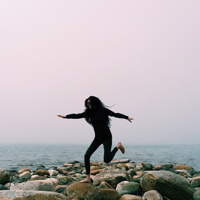 Foggy beach frolicking