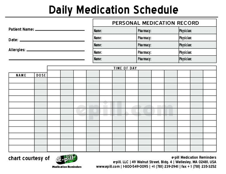Free DAILY Medication Schedule / Free DAILY Medication