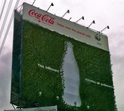 Billboard made of plants
