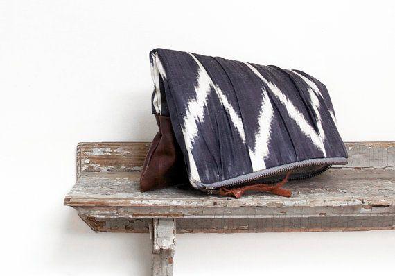Leather zip clutch tribal print handbag geometric print by eclu, $139.00
