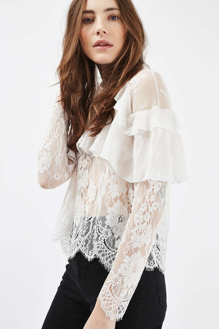Pin By Lisa Paull On W H 17 Blouse Lace Frill Blouse