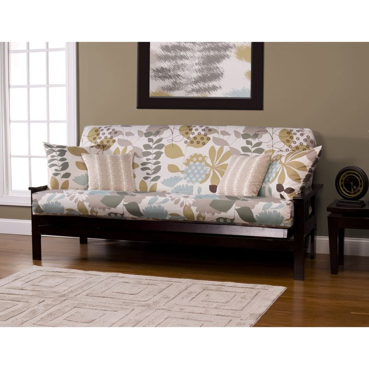 Update the look of your futon with this modern full-size futon cover from English Garden. The futon cover features a vibrant floral pattern in hues of brown, blue, and taupe that stands out on the cream background and creates a contemporary look.