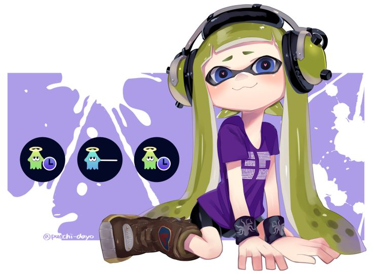 1girl :3 arm_support bangs bike_shorts black_shorts black_wristband blue_eyes blunt_bangs blush boots brown_boots closed_mouth commentary domino_mask female_inkling full_body gameplay_mechanics green_hair headphones heart heart-shaped_pupils highres inkling long_hair looking_at_viewer mask paint_splatter pointy_ears print_shirt puchiman purple_shirt shirt shorts single_vertical_stripe sitting smile solo splatoon squid symbol-shaped_pupils t-shirt tentacle_hair twitter_username wariza…