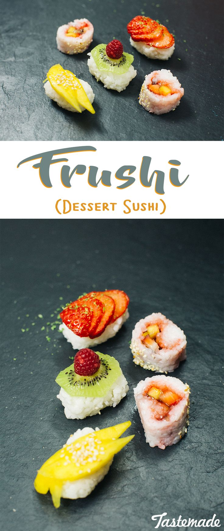 "Beautifully sliced fruit as...Sushi? Yep, it's called ""Frushi"" and makes for a surprising and delightful spread."