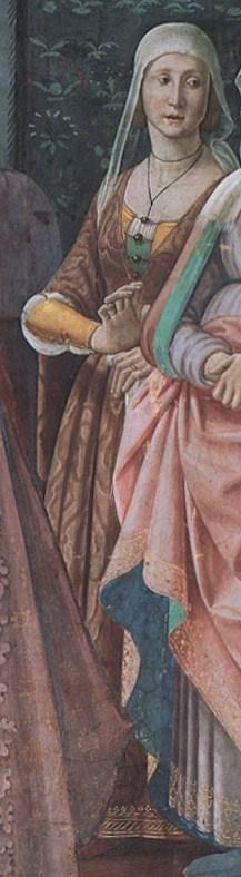 Domenico Ghirlandaio, 1486-90, The Birth of St John the Baptist (detail) Cappella Tornabuoni, Santa Maria Novella, Florence