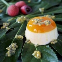 The sweetness of the lychees and tartness of the pomegranate in this Lychee Panna Cotta With Passion Fruit Jelly Recipe, makes you dream of tropical islands