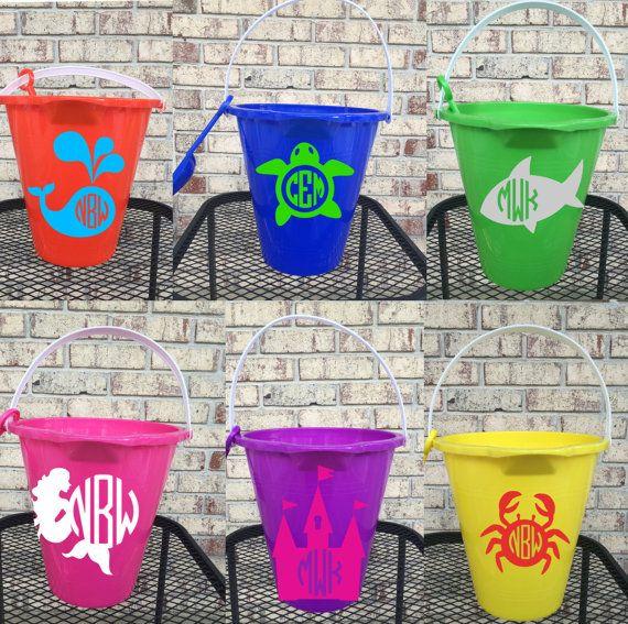Personalized Sand Bucket with shovel, sand pails, monogram beach bucket, buckets for kids, gift baskets, beach accessories, kids buckets,