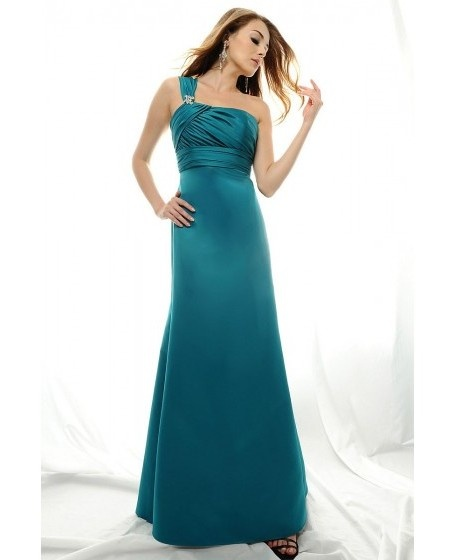 One-shoulder Ruched Satin A-line Beading Bridesmaid Dress