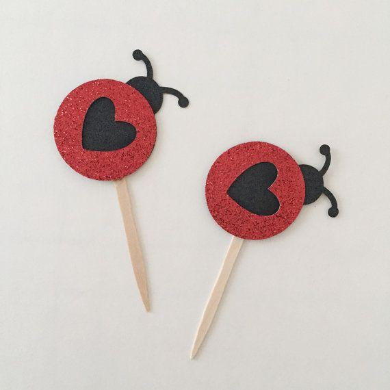 Ladybug Cupcake Toppers verano cumpleaños por ThePaperFlamingos