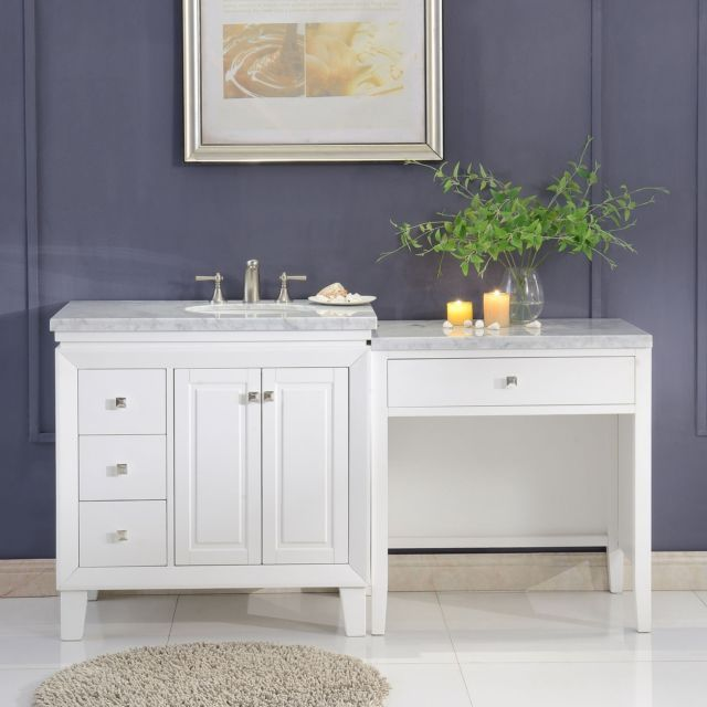 67 Inch Marble Top Bathroom Vanity Single Sink Cabinet With Make