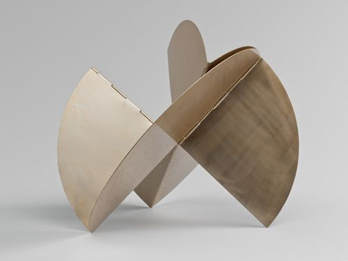 Lygia Clark. Sundial. 1960 Sundial belongs to Clark's Animals series, begun in 1960—a group of metal sculptures whose forms can be endlessly modified. The works in this series are flat, curving structures that fold in different ways along a spine–like axis. Capable of many variations in form, they can also be reduced to a flat plane. Sundial was conceived to invite the spectator to modify its foldable geometric shapes.