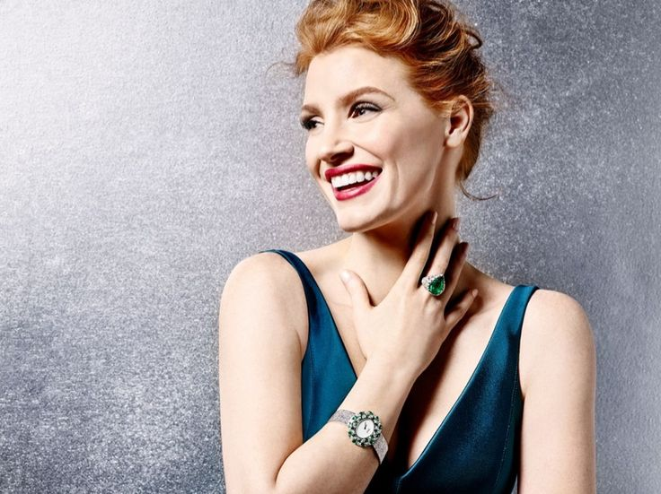 Jessica Chastain is all smiles in Piaget 'Extremely Piaget' 2016 advertising campaign