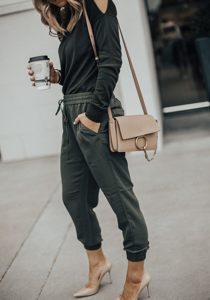 lovely army green joggers outfit shoes