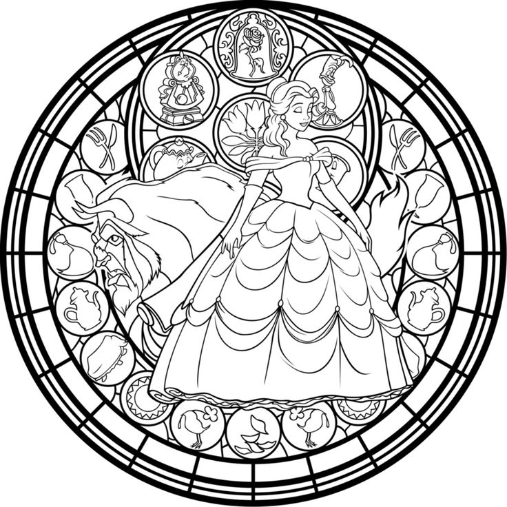 13 Best Images About Disney Adult Colouring Pages On Stained Glass Disney Princess Free Coloring Sheets
