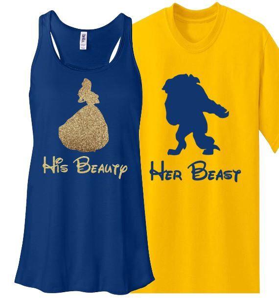 Glitter Couples Set Beauty and Beast Bella Tank Shirt Disney World Disneyland Flowy Racerback Tank Bling by MickeysMagicalTees on Etsy https://www.etsy.com/listing/229570453/glitter-couples-set-beauty-and-beast