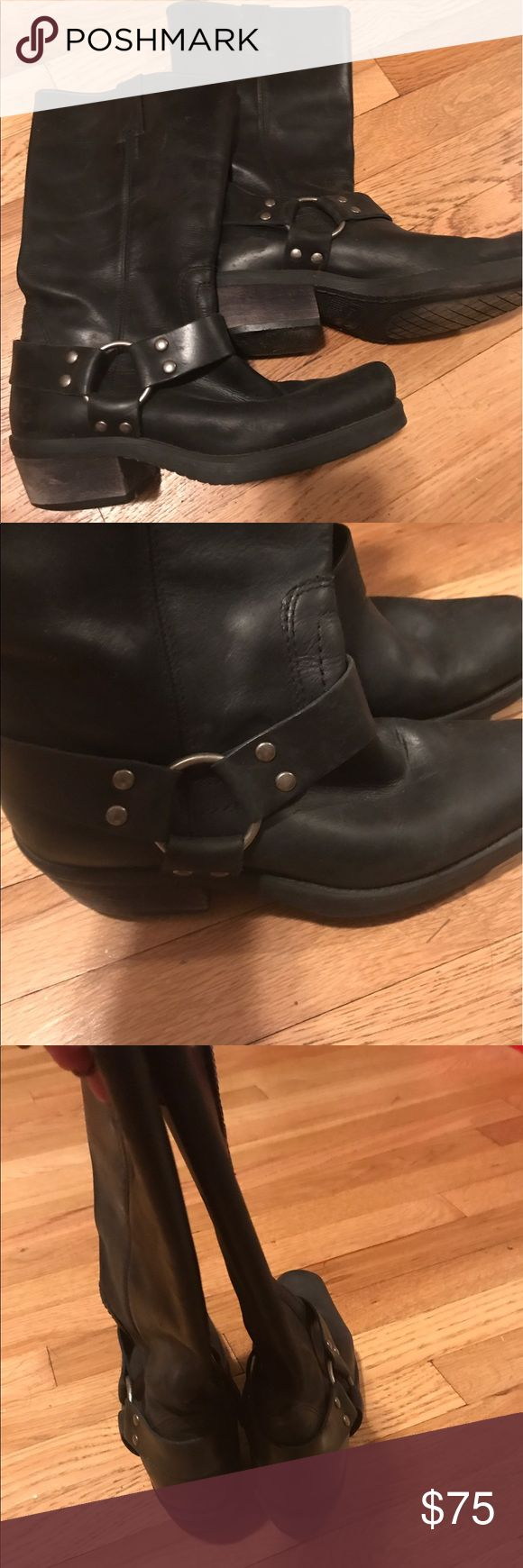 Jenny motorcycle boots, size 7.5 Very good condition, black leather, length to half calf jenny Shoes Combat & Moto Boots