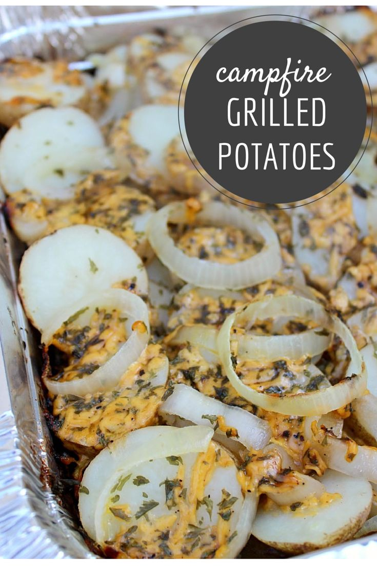 Easy Campfire Potatoes made on the grill.  They're the perfect pairing to hamburgers on a hot summer night!
