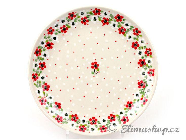 "Shallow plate 25cm (10"") - *** ELIMAshop.cz *** Handmade Polish Pottery from Boleslawiec . Bunzlauer keramik . ceramics . stoneware . ELIMAshop.cz , shipping worlwide . Artystyczna ."
