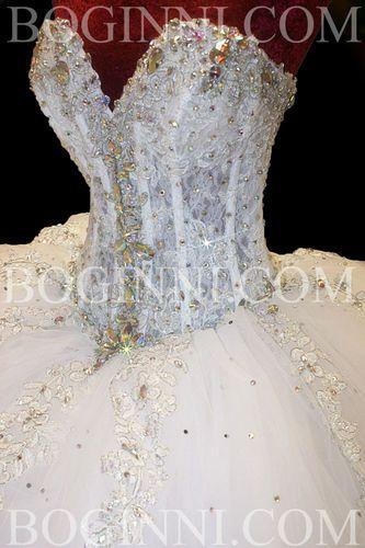 1600 boginni custom made white lace crystal corset 250cm for Big bling wedding dresses
