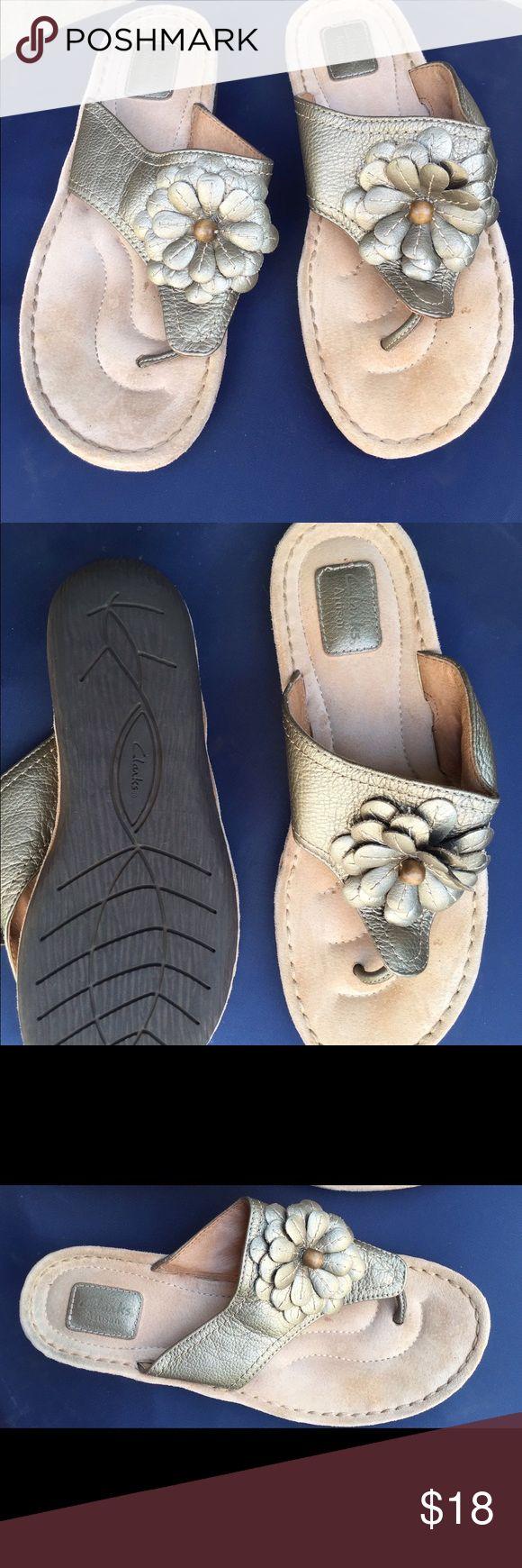 Clark's Artisan Metallic Pewter Sandals Barely worn Clark's sandals. Clarks Shoes Sandals