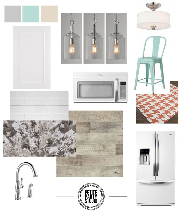 Kitchen Design Board ...love the white with pops of color!