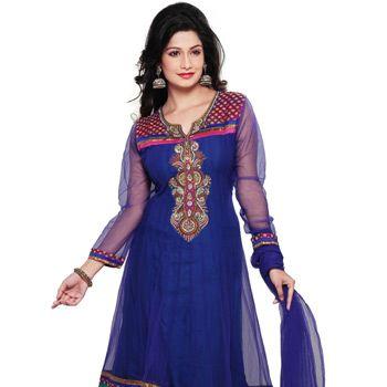 Royal Blue Net Anarkali Churidar Kameez