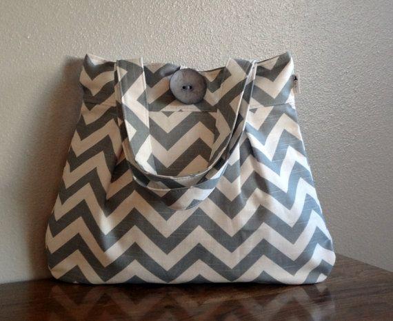 Grey and white chevron diaper bag