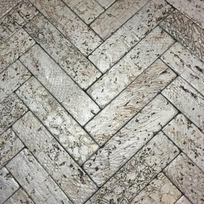 silver leaf over travertine bricks
